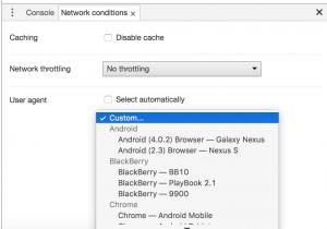Chromeのユーザーエージェント変更